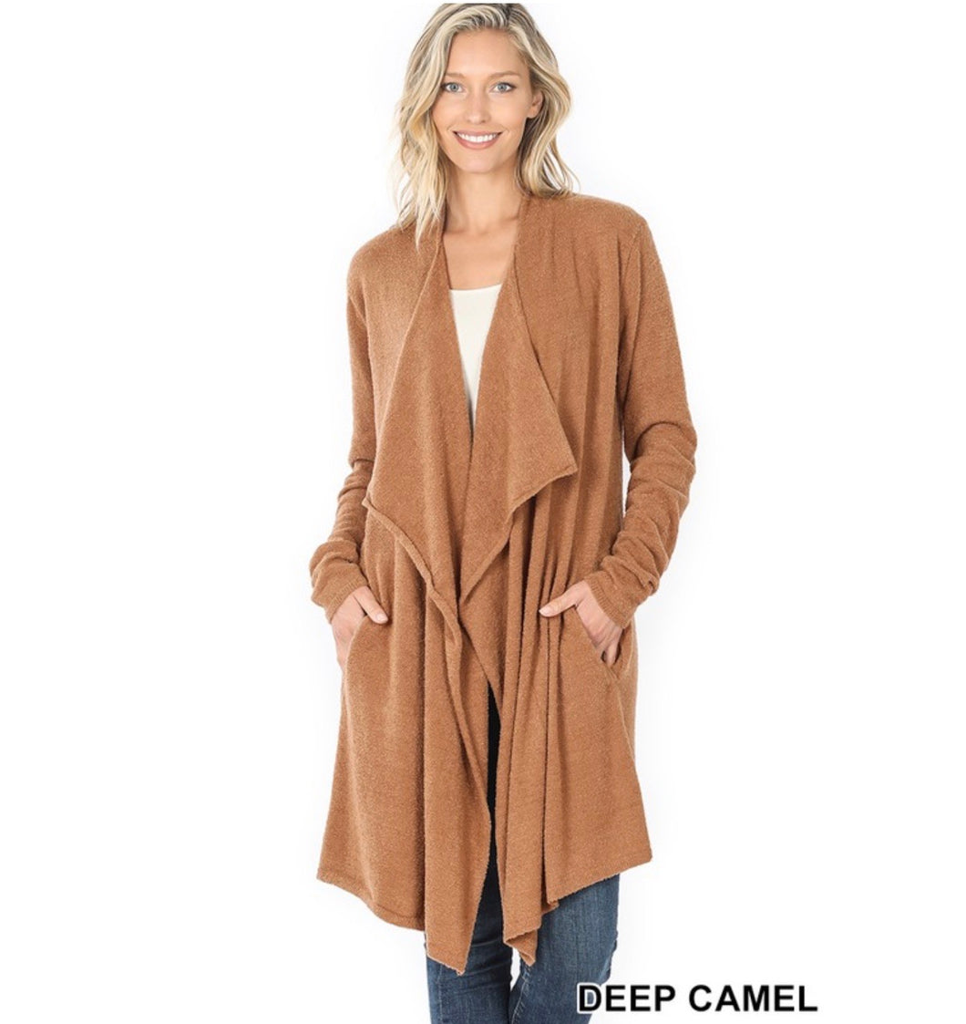 Draped Open Front Cardigan-Arrives 10/20