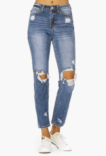 Ella High Waisted Distressed Jeans-Curvy
