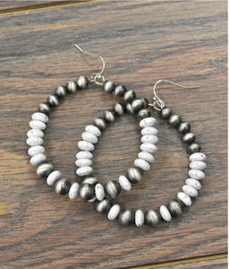 Faux Navajo Pearl and Beaded Earrings
