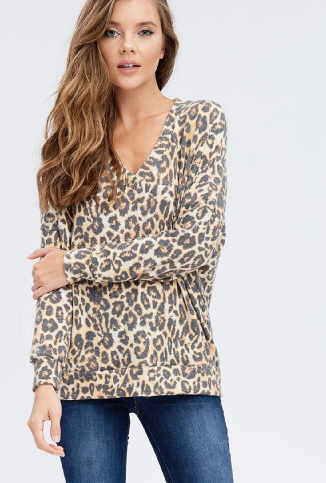 Chloe V-Neck Brushed Cheetah Top
