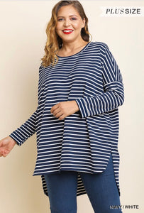 Jillian Long Sleeve Striped Tunic-Curvy
