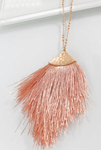Kayla Hammered Tassel Necklace