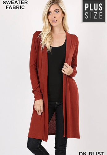 Anna Open Front Cardigan w/Pockets-Curvy