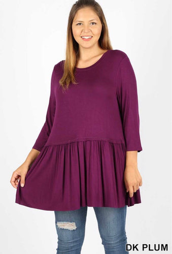Carley Ruffle Bottom 3/4 Sleeve Top-Curvy