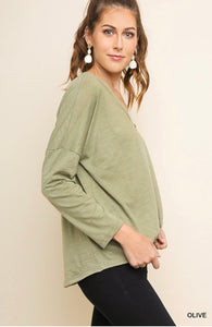Katelyn Long Sleeve V-Neck Button Down Top
