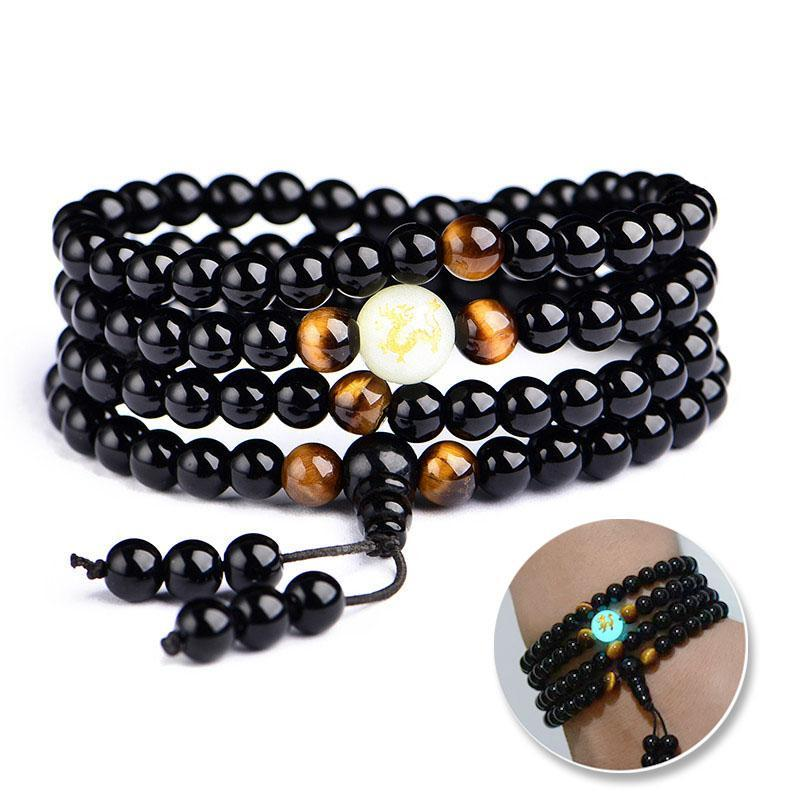 Illuminating Dragon Obsidian Beaded Bracelet Wrap