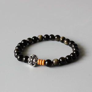 Gold Obsidian Beaded Bracelet With Dragon Charm