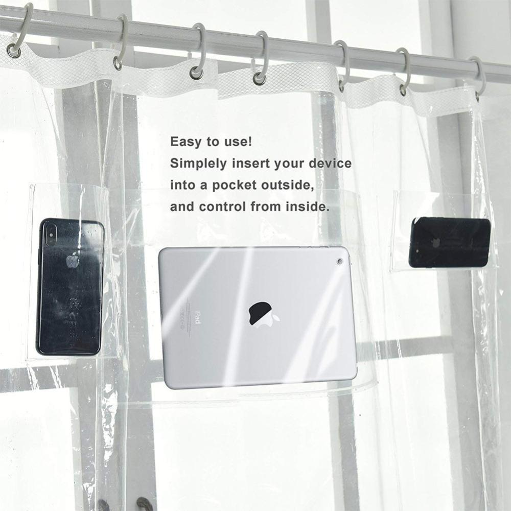 Shower curtains with mobile phone and tablet pockets
