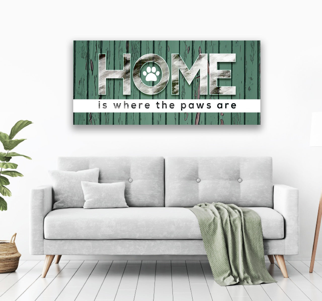 Home decor canvas wall art home is where the paws are wooden frame