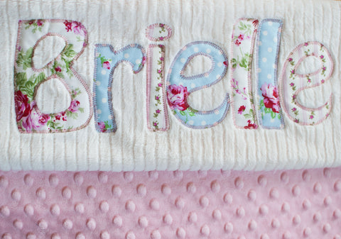 monogrammed baby blanket girl pink custom personalized