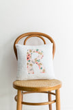 first letter pillow pink watercolor flower