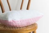 white chenille and pink minky pillow