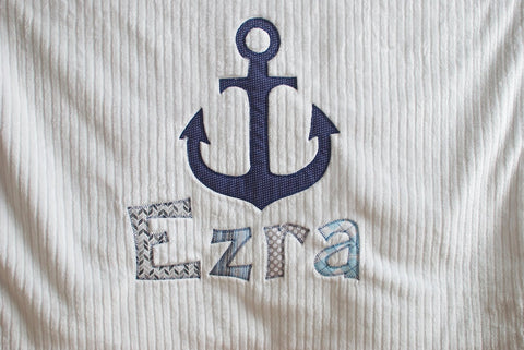 monogrammed baby blanket anchor