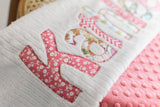 Monogrammed baby girl blanket personalized custom coral
