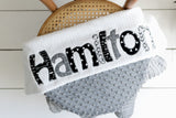 Monogrammed baby blanket boy grey personalized custom