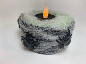 Spiders with Web Halloween Candle Holder