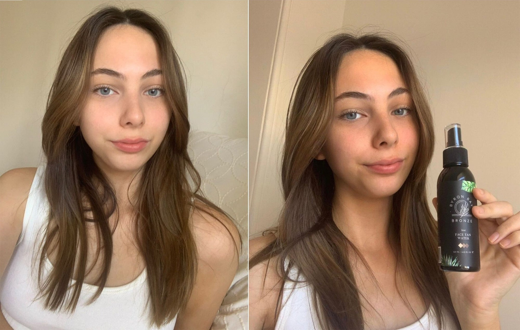 Before and After Face Water Fake Tan Pictures - Byron Bay Bronze Before and After Tan