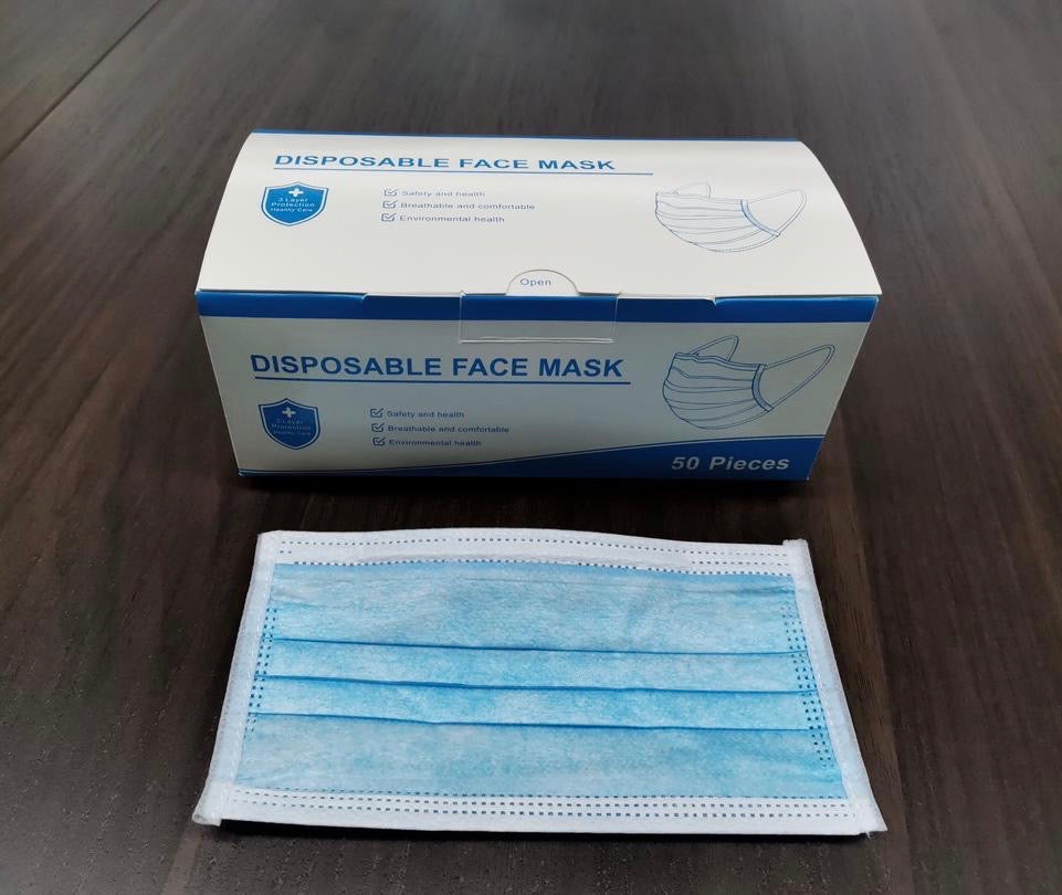 Disposable 3 Ply Face Mask with Ear Loop (Pack of 50)