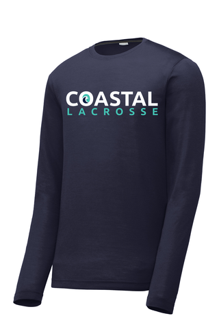 Coastal Lacrosse Men's Navy Long Sleeve CottonTouch Performance Shirt