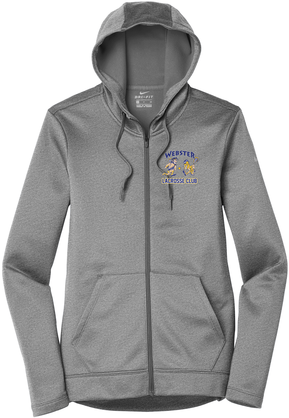 Webster Lacrosse Dark Grey Nike Ladies Therma-FIT Full Zip Hoodie