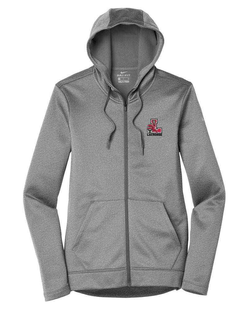 Lancaster Legends Lacrosse Nike Ladies Grey Heather Therma-FIT Full Zip Hoodie