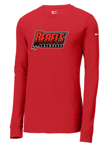 Rebels Lacrosse Gym Red Nike Core Cotton Long Sleeve Tee