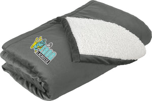 Frog Girls Lacrosse Grey Blanket