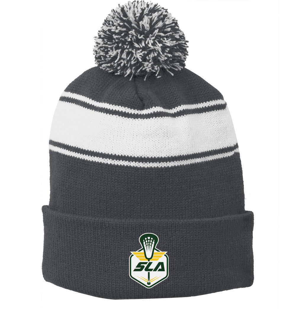 Sycamore Lacrosse Association Grey/White Pom Pom Beanie
