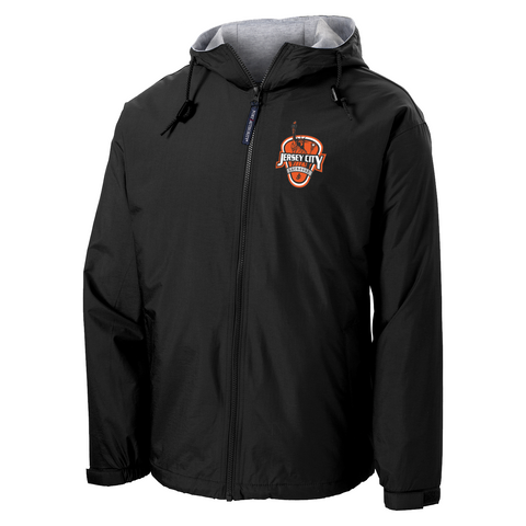 Jersey City Lacrosse Black Hooded Jacket Shield Logo