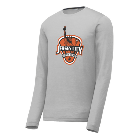 Jersey City Lacrosse Grey Long Sleeve CottonTouch Performance Shirt Shield Logo