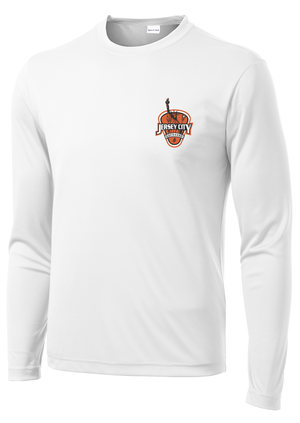 Jersey City Lacrosse White Long Sleeve Performance Shirt Shield Logo