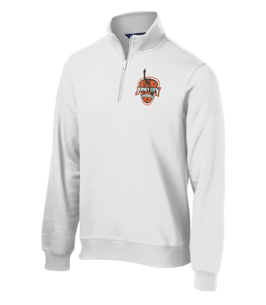 Jersey City Lacrosse White 1/4 Zip Fleece Shield Logo