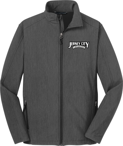 Jersey City Lacrosse Charcoal Soft Shell Jacket Text Logo