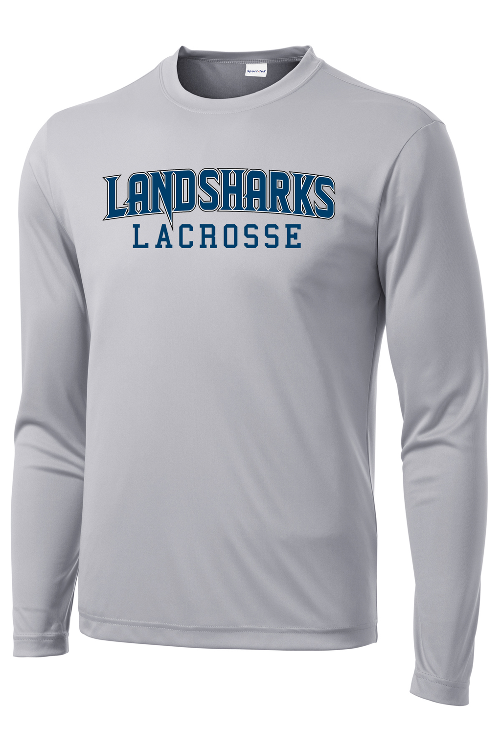 Bay Area Landsharks Grey Long Sleeve Performance Shirt Text Logo