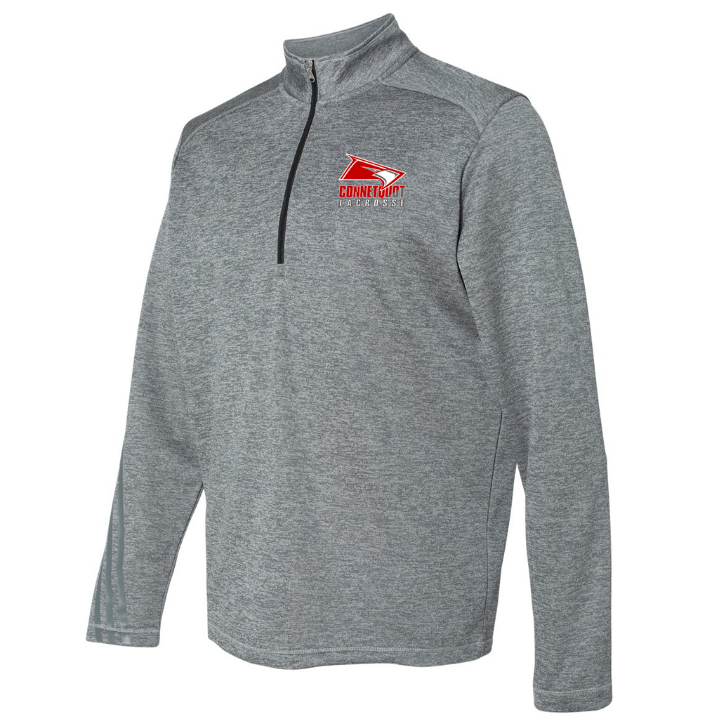 Connetquot Lacrosse Adidas Terry Heathered Quarter-Zip Pullover