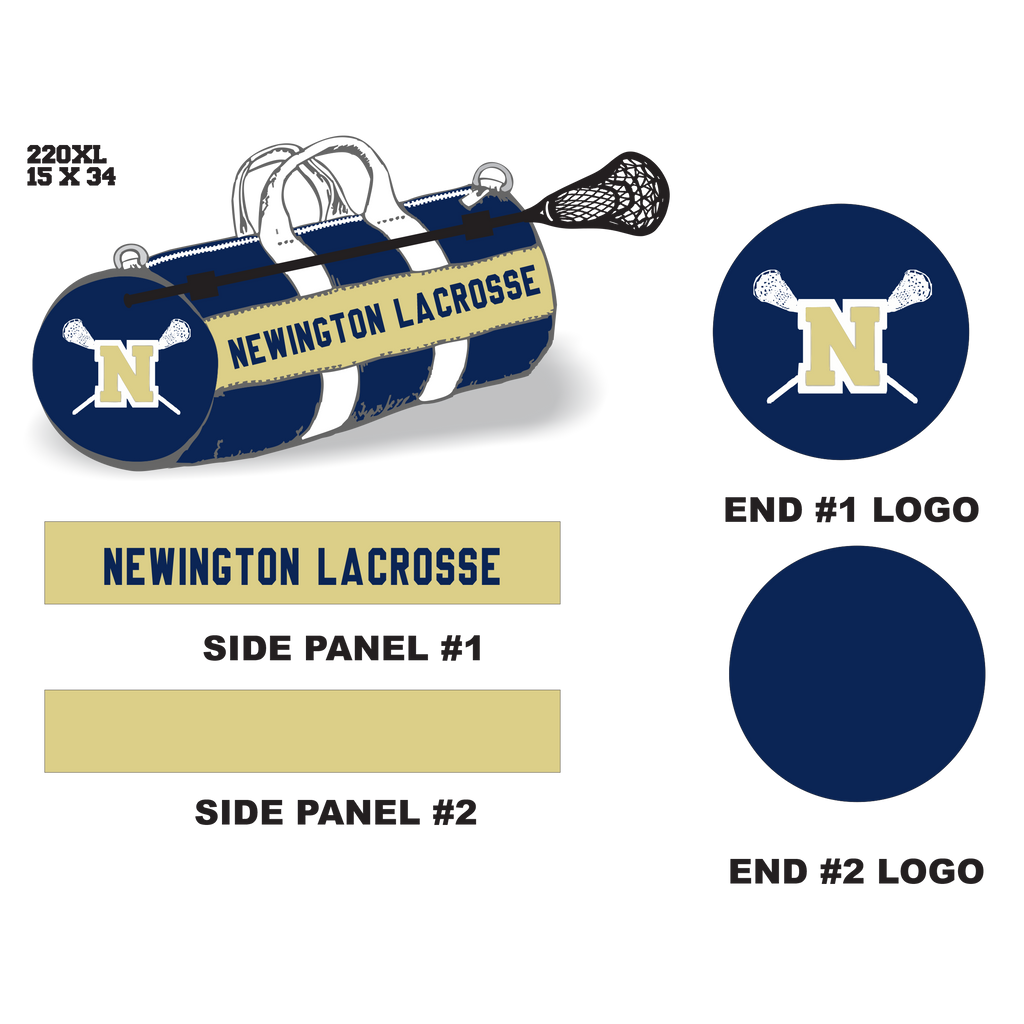 Newington High School Lacrosse Velcro Stick Holder XL Duffel Bag