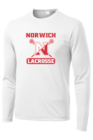 Norwich Youth Lacrosse White Long Sleeve Performance Shirt