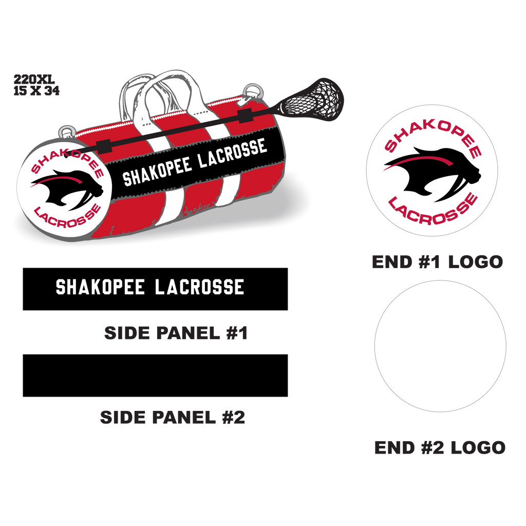 Shakopee Lacrosse Velcro Stick Holder XL Duffel Bag