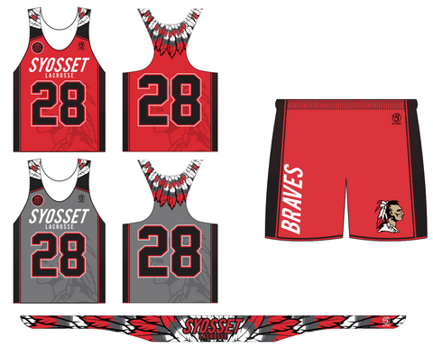 Syosset Girl's Lacrosse Premium 2-Piece Uniform Set + Headband