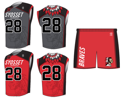 Syosset Boy's Lacrosse Premium 2-Piece Uniform Set + Helmet Sticker