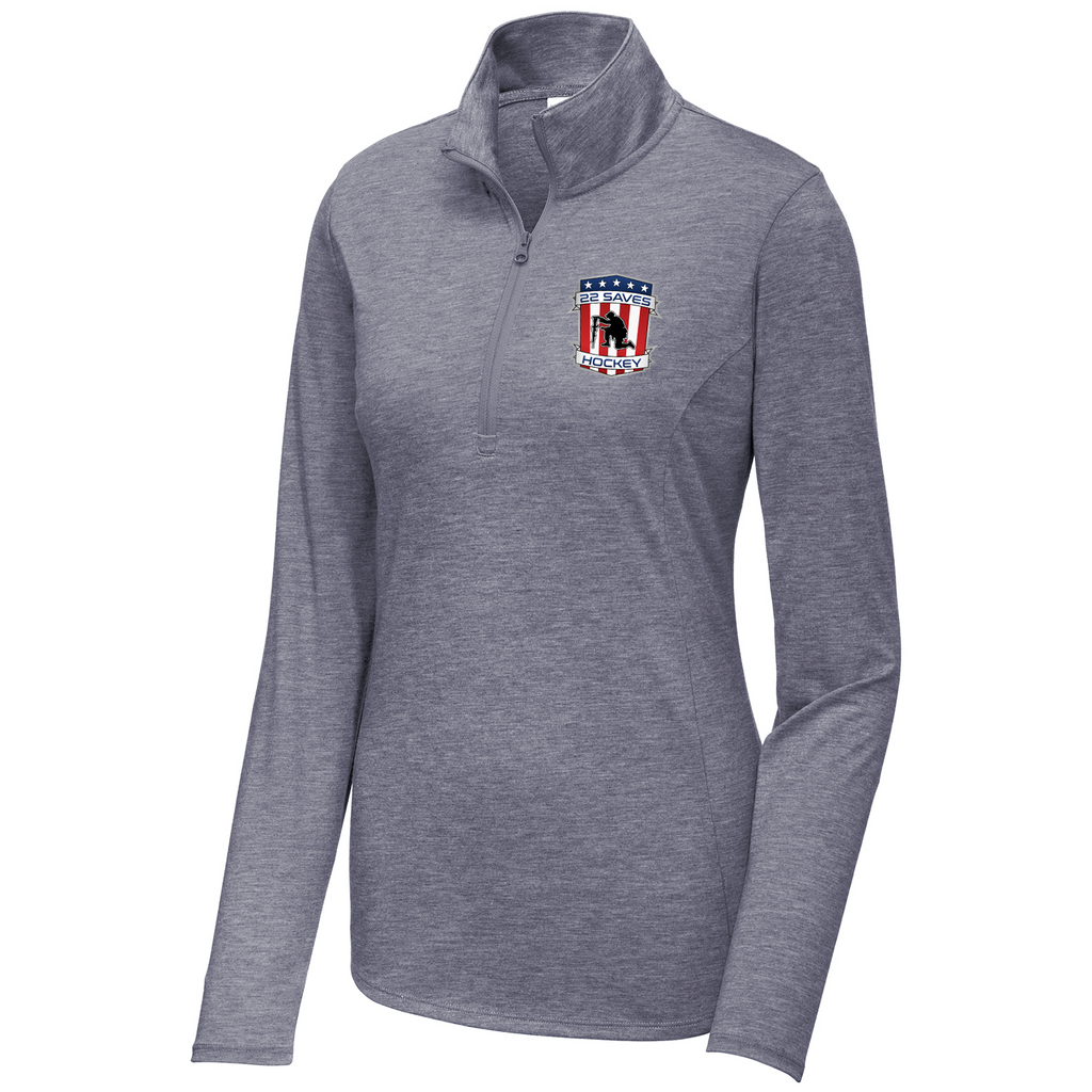22 Saves Hockey Women's Tri-Blend Quarter Zip