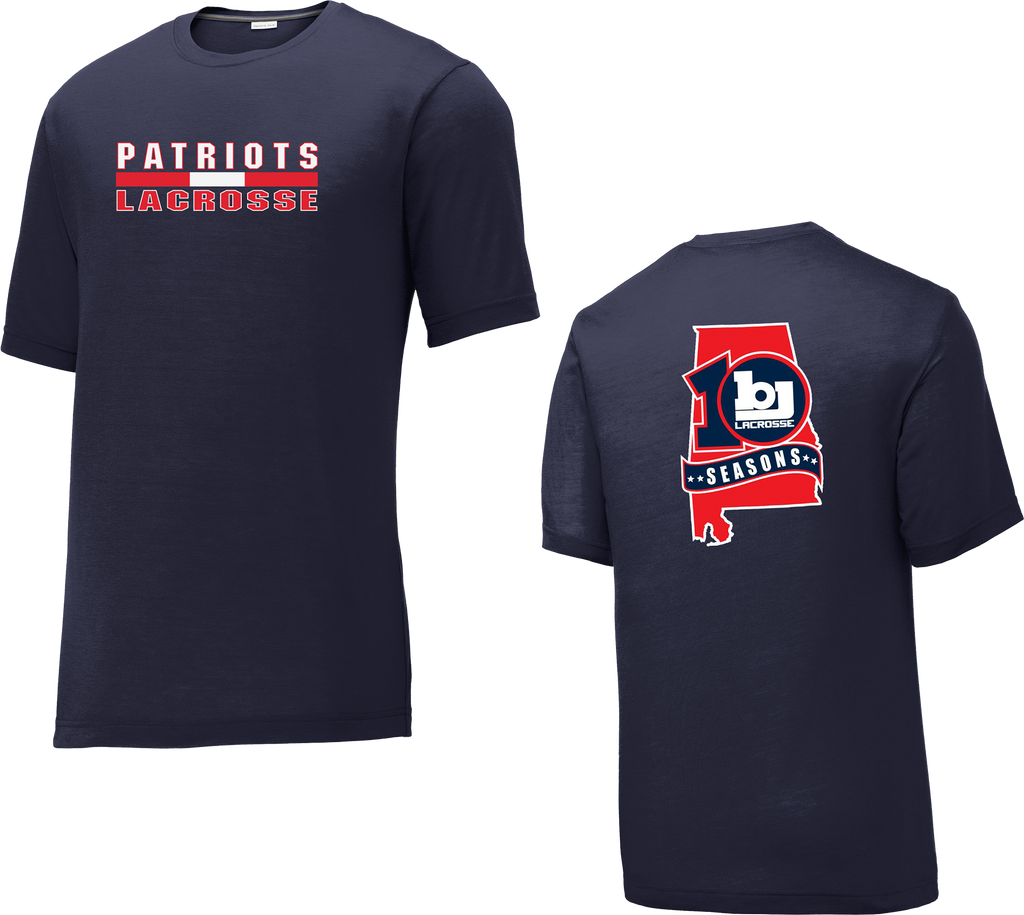Bob Jones Lacrosse 10th Season Navy CottonTouch Performance T-Shirt
