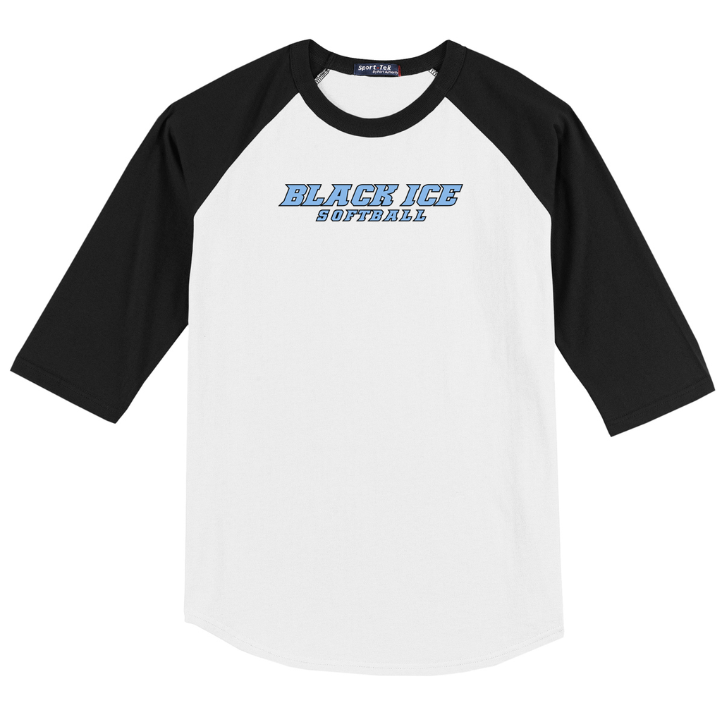 Black Ice Softball 3/4 Sleeve Baseball Shirt