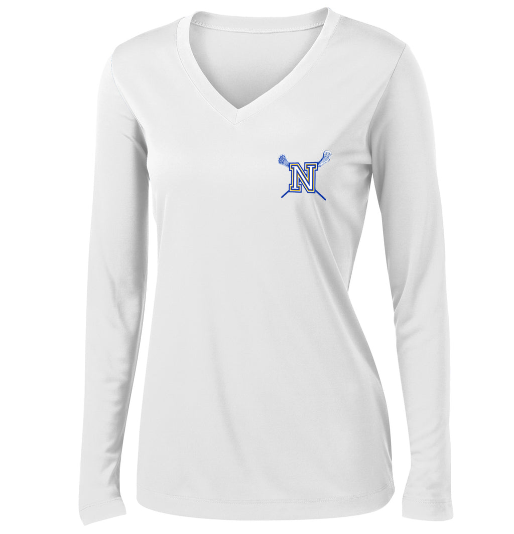 Newington Lacrosse Women's White Long Sleeve Performance Shirt