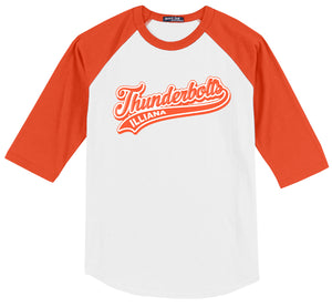 Illiana Thunderbolts White/Orange 3/4 Sleeve Baseball Shirt: Thunderbolts Logo