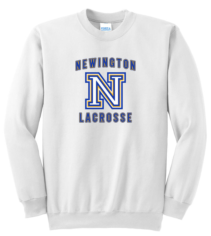 Newington Lacrosse White Crew Neck Sweatshirt