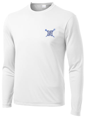 Newington Lacrosse White Long Sleeve Performance Shirt