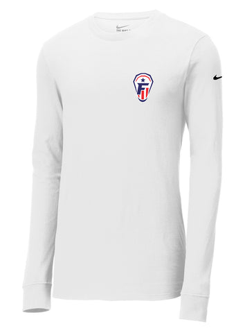 Freedom Lacrosse White Nike Core Cotton Long Sleeve Tee