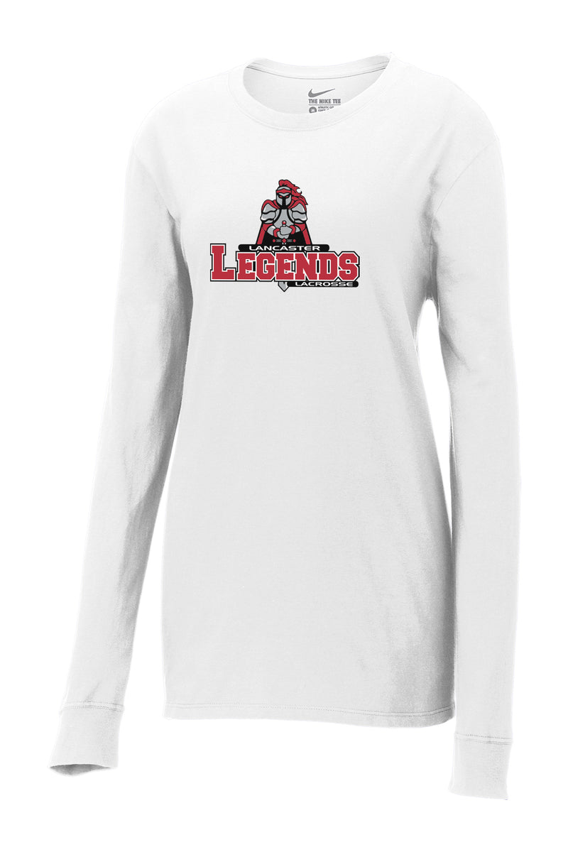 Lancaster Legends Lacrosse Nike Ladies White Core Cotton Long Sleeve Tee