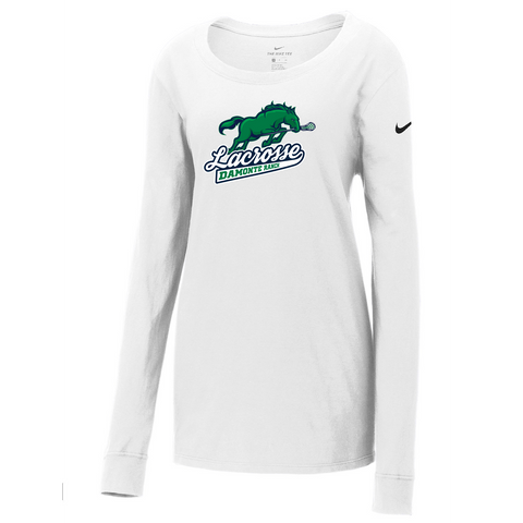 Oxford Youth Lacrosse Nike Ladies White Core Cotton Long Sleeve Tee